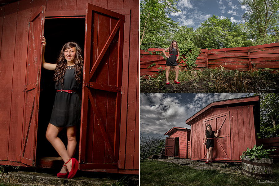 Senior Photography by Red Shed and Fence