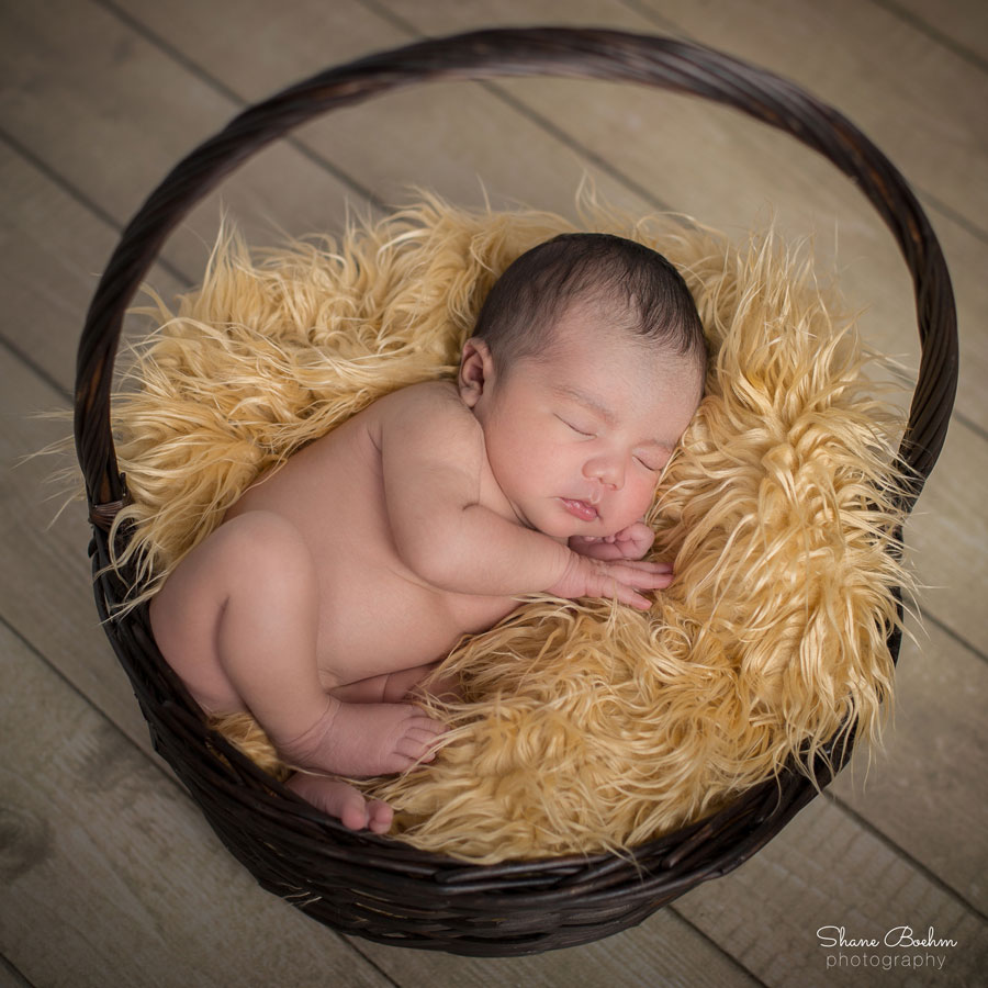 Newborn Sleeping in Basket on Faux Fur