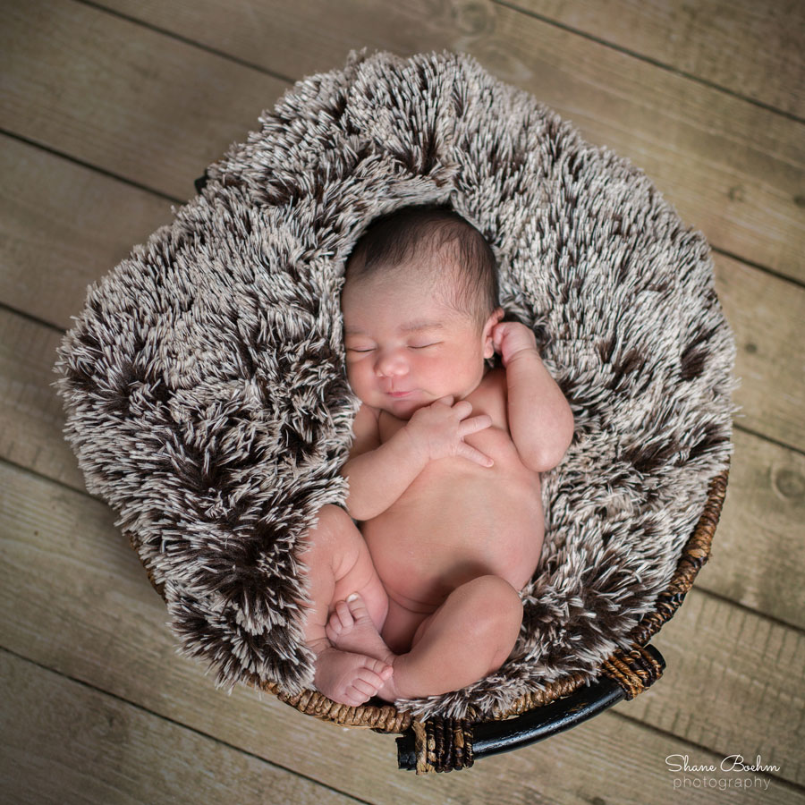Newborn Sleeping in Basket with Faux Fur