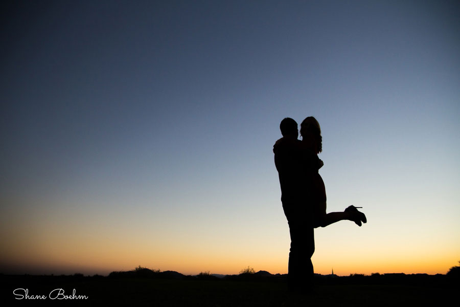 Engagement Couple Sunset Silhouette