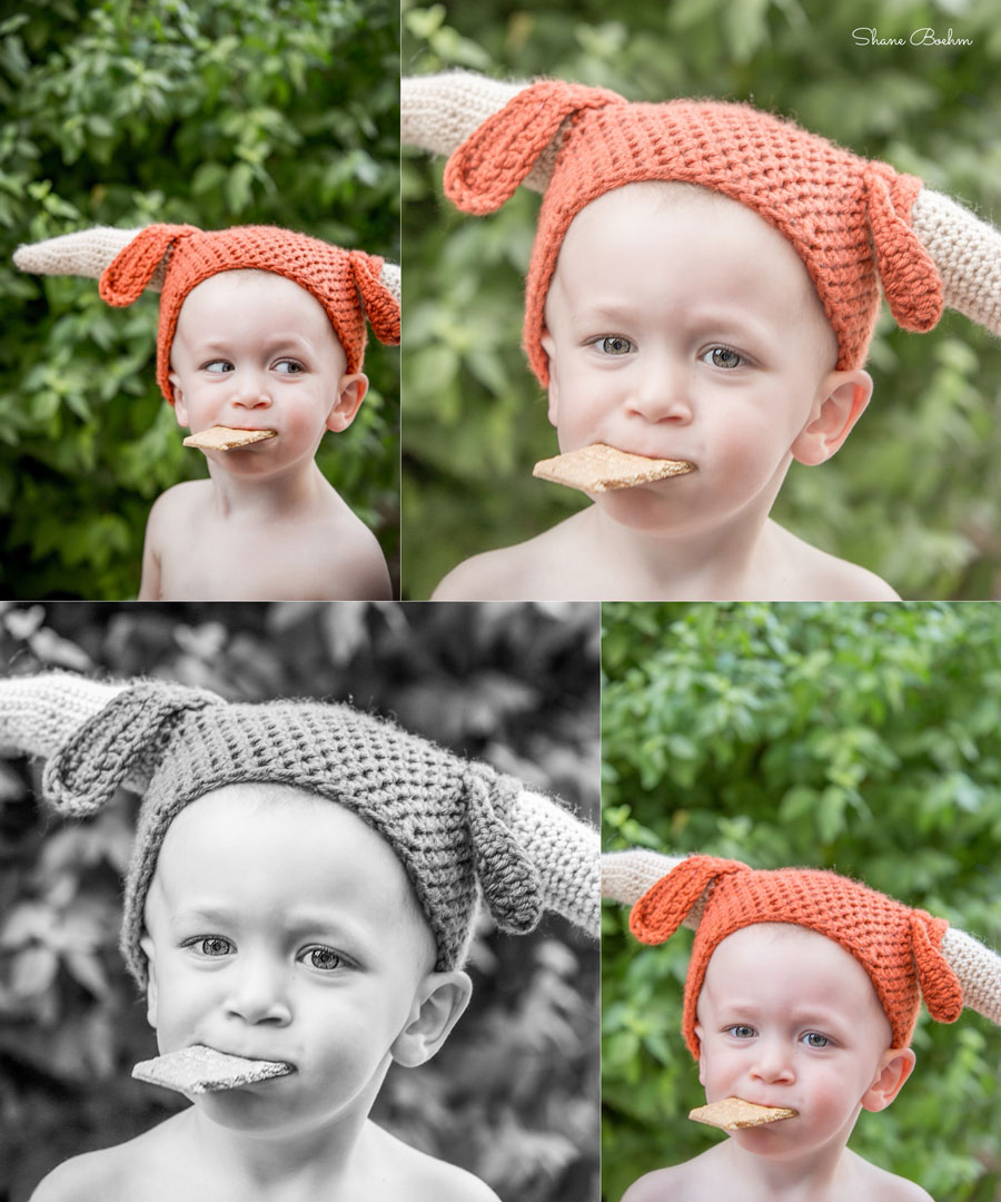 2 year old boy with graham cracker and texas longhorns knitted hat
