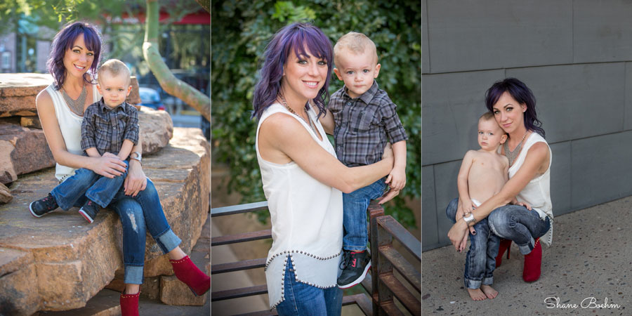 2 year old boy and mom portraits