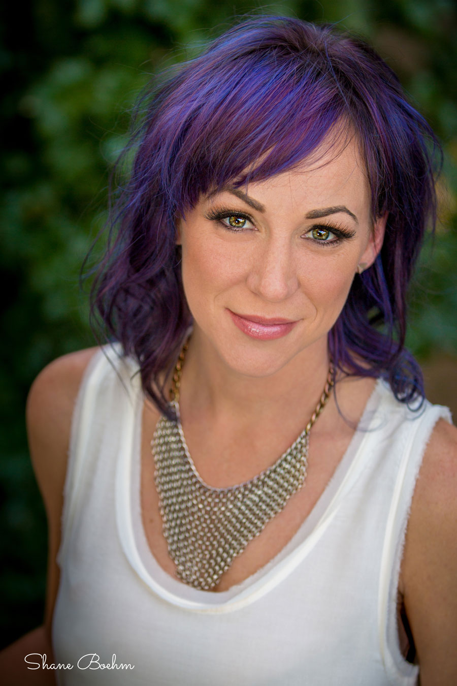 Female with purple hair portrait